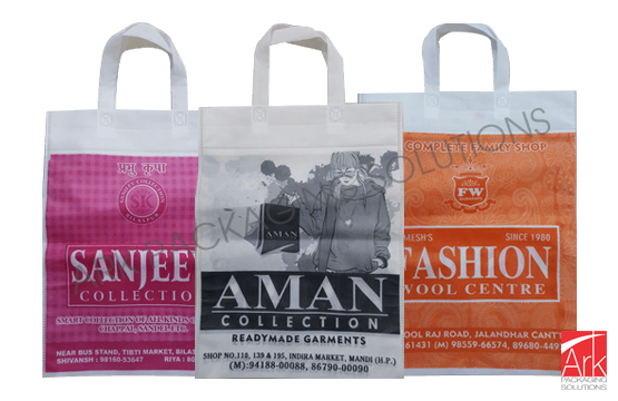 Nonwoven Loop Handle Offset Single Color Printed Bags